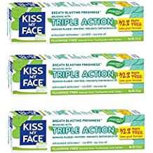 Kiss My Face Gel Triple Action Toothpaste Fluoride Free, SLS Free 4.5 Oz (Pack of 3)
