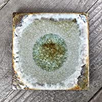 Geode Crackle Coaster in COPPER: Individual Coaster, Geode Coaster, Agate Coaster, Fused Glass Coaster, Crackle Glass Coaster, Dock 6 Pottery Coaster, Dock 6 Pottery, Kerry Brooks Pottery