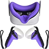 XIAOGE Touch Controller Grip Cover for Oculus Quest 2, Silicone Face Cover Accessories, Straps Hold and Wrist Strap VR Cover