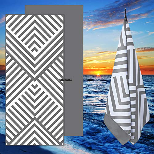 DARCHEN Microfiber Beach Towels Oversize Quick Dry Towel [1 or 4 Pack] - Travel Beach Towel for Swimming Pool, Sand Free Towel(Extra Large XL 70x35, Large 63x32) for Kids Adult, Compact Lightweight