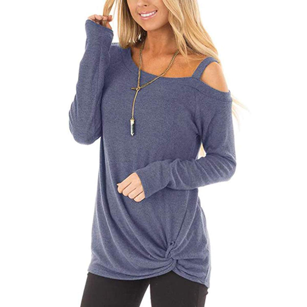 Coldshoulder Purple Ilfioreemio Women Knit Tunic Top Round Neck Blouse Knot Twist Front Long Sleeve Casual Soft Sweatshirt