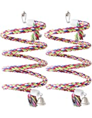Fasmov 2 Pack 1/2-Inch by 63-Inch Rope Bungee Bird Toy Pure Natural Colorful Parrot Swing Toys with Bell