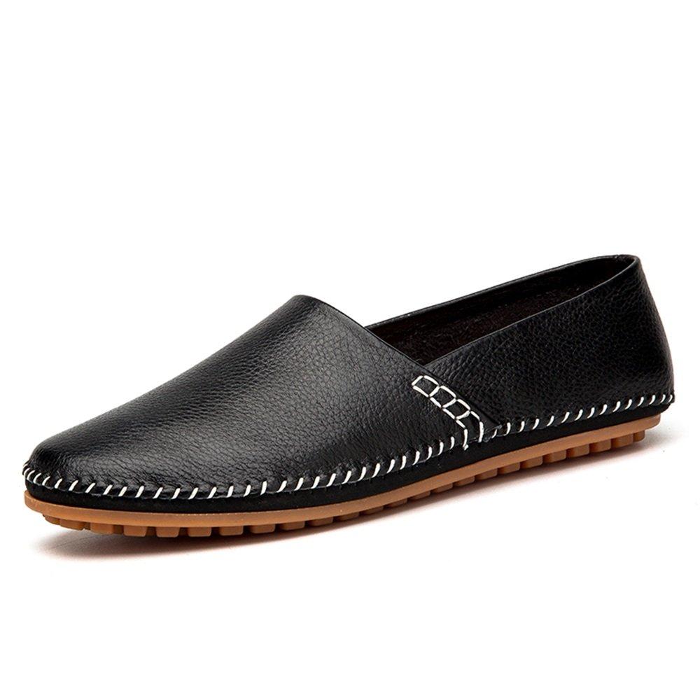 Slip on Loafers de los Hombres del Cuero de la PU Noble Cómodo Color Puro Manera de conducción Mocasines del Barco Zapatos Casuales 38 EU|Negro