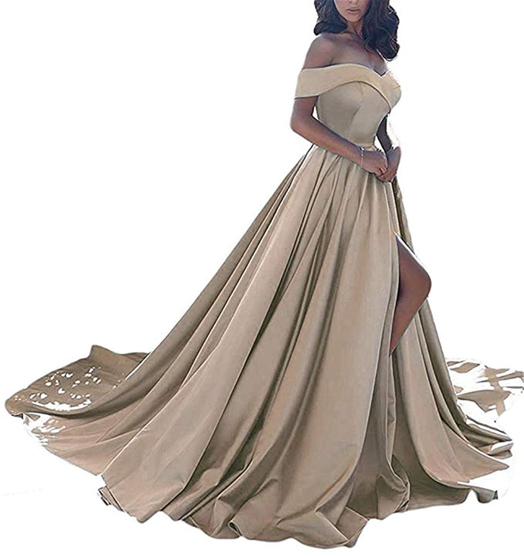 Champagne QiJunGe Women's Off The Shoulder A Line Prom Dress Split Satin Formal Evening Gowns Long