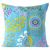 "EYES OF INDIA - 16"" BLUE KANTHA DECORATIVE SOFA THROW COUCH PILLOW CUSHION COVER Boho Bohemian Indian"