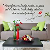"""Wawoo DIY Wall Murals """"Imperfection is Beauty"""" Quote By Marilyn Monroe With Red Lip Wall Sticker Decals, Removable Letter Vinyl Art Wall Sticker by Monroe for Home Decoration"""