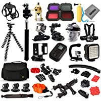 Opteka Scuba and Snow Filters + Selfie Stick + WiFi Remote + Car Dash Mount + Dog Strap + Floating Bobber + Seatpost Mount + Front Helmet Mount Kit + More For GoPro Hero4 Cameras