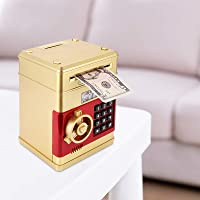 TTAototech ATM Savings Bank for Real Money Electronic Piggy Bank with Lock Password Money Box Cash Coins Saving ATM Bank Safe Box Auto Scroll Paper Banknote Gift for Kids Adults