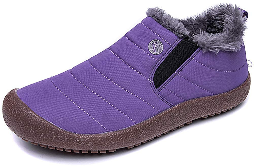 Purple-low Top Eagsouni Women Men Anti-Slip Waterproof Ankle Snow Boots Fully Fur Lined Winter Outdoor Booties Sneakers