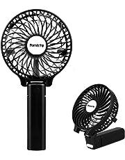 Ventilateur à Main, Mini Ventilateur Silencieux Suspension, USB Rechargeable avec 3 Vitesses, Fan Pliable et Portable pour Maison, Bureau et Voyage -- Noir (Schwarz)
