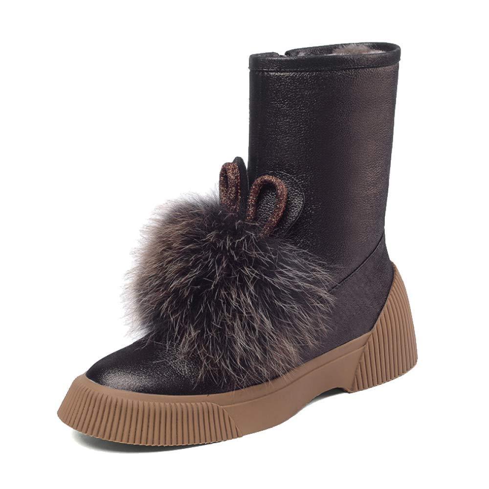 YCGCM Frauenstiefel Winter Runde Kopf Schnee Stiefel Fliege In Den Stiefeln