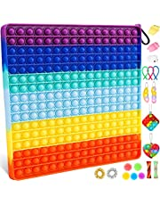 256 Bubble Big Size Push Bubble Sensory Fidget Pop Giant Toy Packs, Fidget Toys Set, Jumbo Huge Fidget Box with Simple Dimple and Pop on it Toy for Adults Kids Autism and Anxiety Relief Squeeze Toys