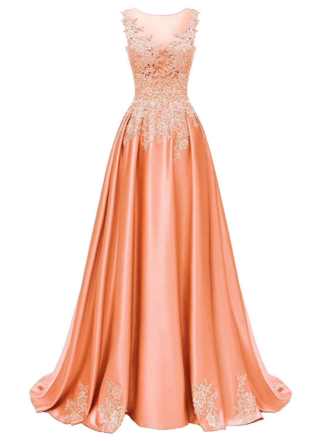 orange Dressytailor Aline Scoop Long Satin Appliques Beading Prom Dress Formal Evening Gown with Pockets