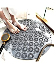Non Slip Shower Mats for Shower Stall, 22 x 22 Inches Bath Tub Mat with Strong Suction Cups,Large Size Bathtub Mat Anti Slip Bath Mats with Drain Hole in Middle Round,Quick-Drying Floor Mat