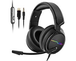 Jeecoo Xiberia Stereo Gaming Headset for PS4 PS5 Xbox One S- Over Ear Headphones with Noise Cancelling Microphone - LED Light