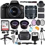 Canon EOS Rebel T6i DSLR Camera with Canon 18-55mm STM Lens Kit + 0.43x Wide Angle Lens + 2x Telephoto Lens + 32GB SD Memory Card + HD Filter Kit + Flash Diffusers + Full Premium Accessory Bundle