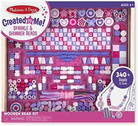 Melissa & Doug Deluxe Collection Wooden Bead Set With 340+ Beads for Jewelry-Making