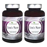 Aloha Medicinals Lion's Mane – Certified Organic Mushrooms - Hericium Erinaceus - Monkey's Head – Bearded Tooth Fungus - Supports Memory, Focus, Concentration - 500mg 90 Vegetarian Capsules (2-Pack)