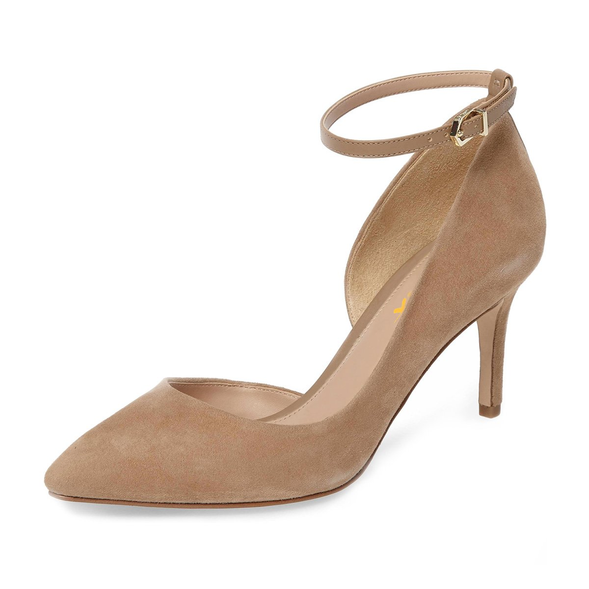 XYD Women Pointed Toe D'Orsay Mid Heel Pumps Ankle Strap Buckled Wedding Party Dress Shoes B078XQCKZQ 9 B(M) US|Camel