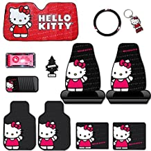 New Design 12 Pieces Hello Kitty Car Seat Cover with 4 Rubber Mats, License Plate Frame, CD Visor Organizer, Steering Wheel Cover, Large Size Sunshade, Key chain and Purple Slice Set