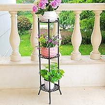 SANDM Plant stand Plant flower pot rack,Wrought iron Metal Tray design Free standing flower rack Multilayer Pergola Balcony Floor-mounted Living room Interior Outdoor-J H:100cm(39inch)