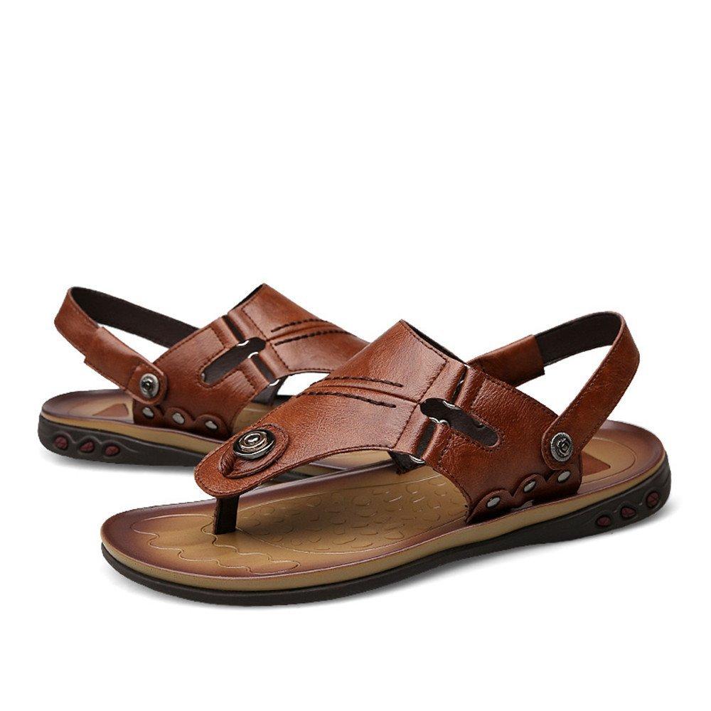 Dig dog bone Men's Flops Flip Flops Men's Genuine Leather Beach Slippers Non-Slip Sandals Adjustable Backless B07G2B413J Sandals c496e9