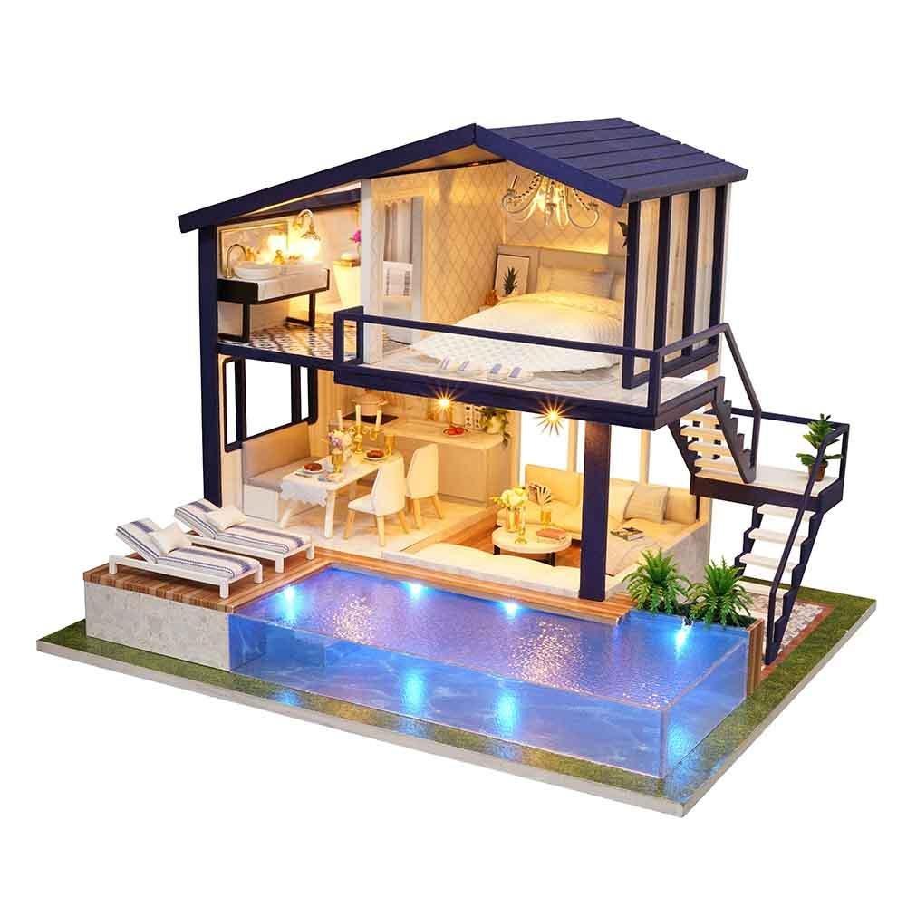Bulary DIY Doll House Kit handgefertigt Holz montiert Puppenhaus Hause Dekoration Urlaub Geburtstag Geschenk Zeit Wohnungs