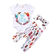 Newborn Baby Girls Floral Heart Peach Print Romper Long Pants with Bowknot Headband Outfit Set (6-12 Months, Short Sleeve(White))
