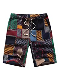Pishon Men's Cotton Linen Short Patterned Elastic Waist Drawstring Beach Shorts