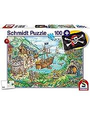 Schmidt Spiele Pussel 56330 i piratboken, inklusive piratflagga, barnpussel, 100 delar, färgglada