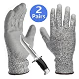 PU Coated Cut Resistant Gloves, Non-Slip Breathable Barehand Sensitivity Work Gloves, Ideal for Kitchen Cutting Fishing Glass Garden Working General Purpose - 2 Pairs
