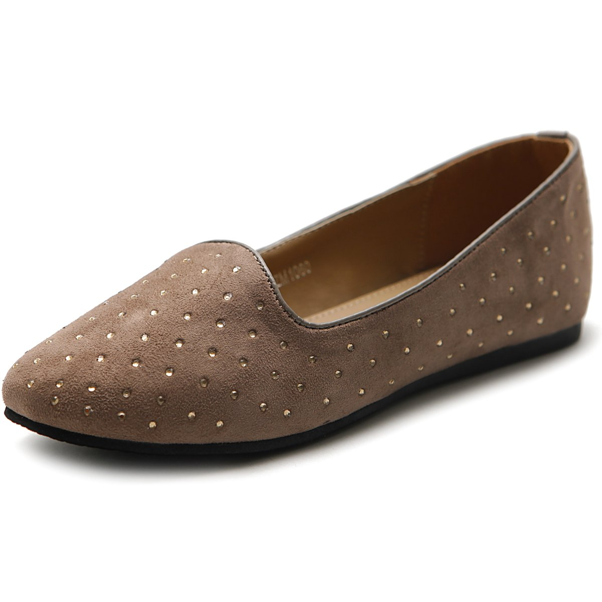 Ollio Women's Shoe Ballet Suede Jewel Stud Comfort Flat B00MV4EDKG 7.5 B(M) US|Mocha B
