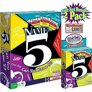 Endless Games Name 5 Board Game & Name 5 Card Game Gift Set Bundle - 2 Pack