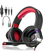 3I Dn. Auriculares Gaming Estéreo Cascos Gaming Adjustables con LED y Micrófono Omnidireccional Reduccón de Ruido para PC, PS4, Nintendo Switch,Tableta y Móvil Color Rojo