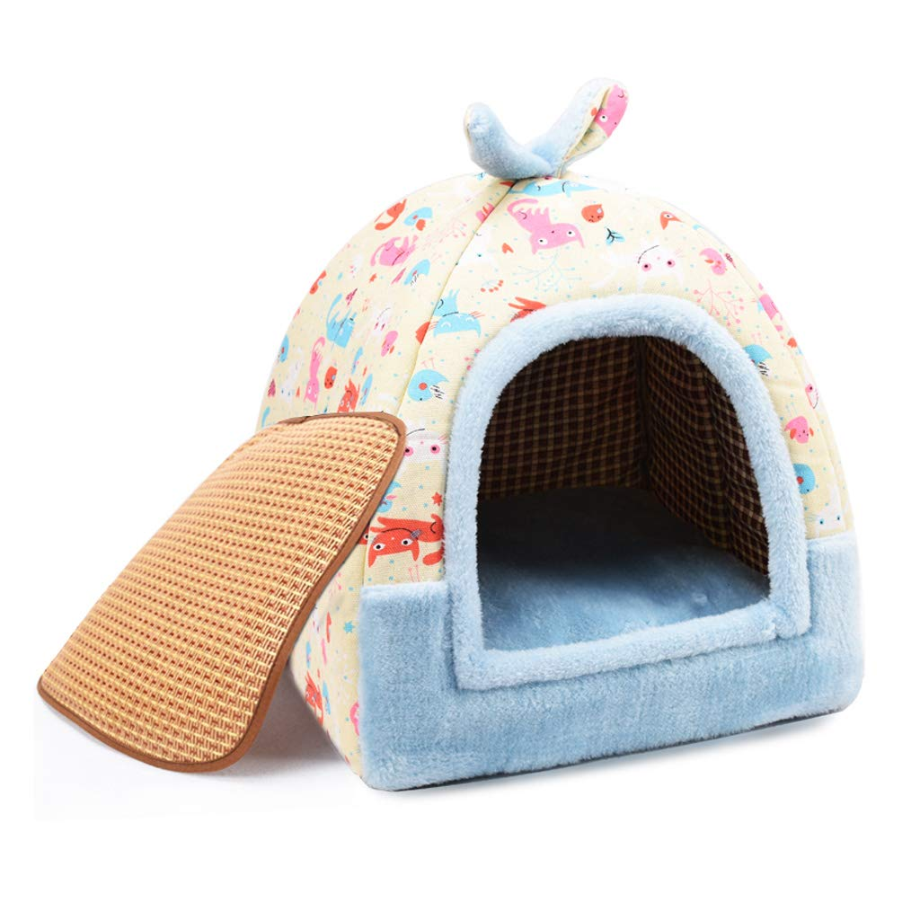 D S D S WANGXIAOLIN Pet Bed, Enclosed Nest, Indoor Small and Medium Kennel, Cat Bed, Mongolian Style, Detachable and Washable, Warmth of All Seasons (color   D, Size   S)