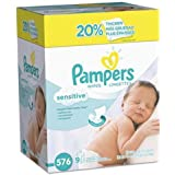 Baby Wipes, Pampers Sensitive Water Based Baby Diaper Wipes, Hypoallergenic and Unscented, 8 Refill Packs (Tub Not Included),