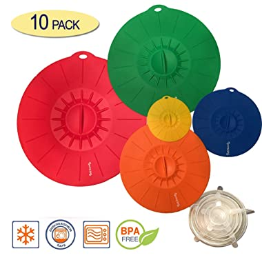 10 Piece Silicone Lids Set (5 silicone suction lids set 12 ,10 ,8 ,6 ,4 + 5 stretch lids set) Reusable silicone lid covers for Pots, Pans, Dishes and Bowls