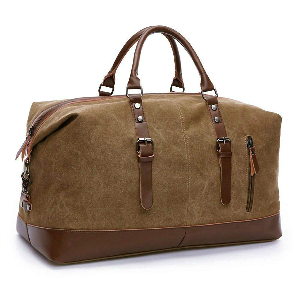 b708aa2036 Oversized Canvas Plus PU Leather Decoration Portable Tote Bags Weekend  Overnight Holdall Travel Handbag Shoulder Bag