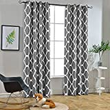 Melodieux Moroccan Fashion Room Darkening Blackout Grommet Top Curtains for Living Room, 52 by 63 Inch, Grey (1 Panel)