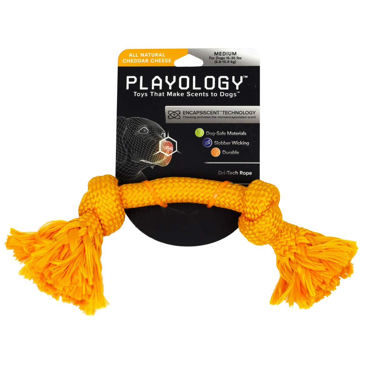 Cheddar Cheese (orange) Medium (15 35 lbs) Cheddar Cheese (orange) Medium (15 35 lbs) Playology Dri-Tech Rope, a Health-Enhancing Cheddar Cheese Scented Chewable Dog Toy That Inspires Exercising Play, 12  Long Medium, in orange for Canines 15-35 lb.