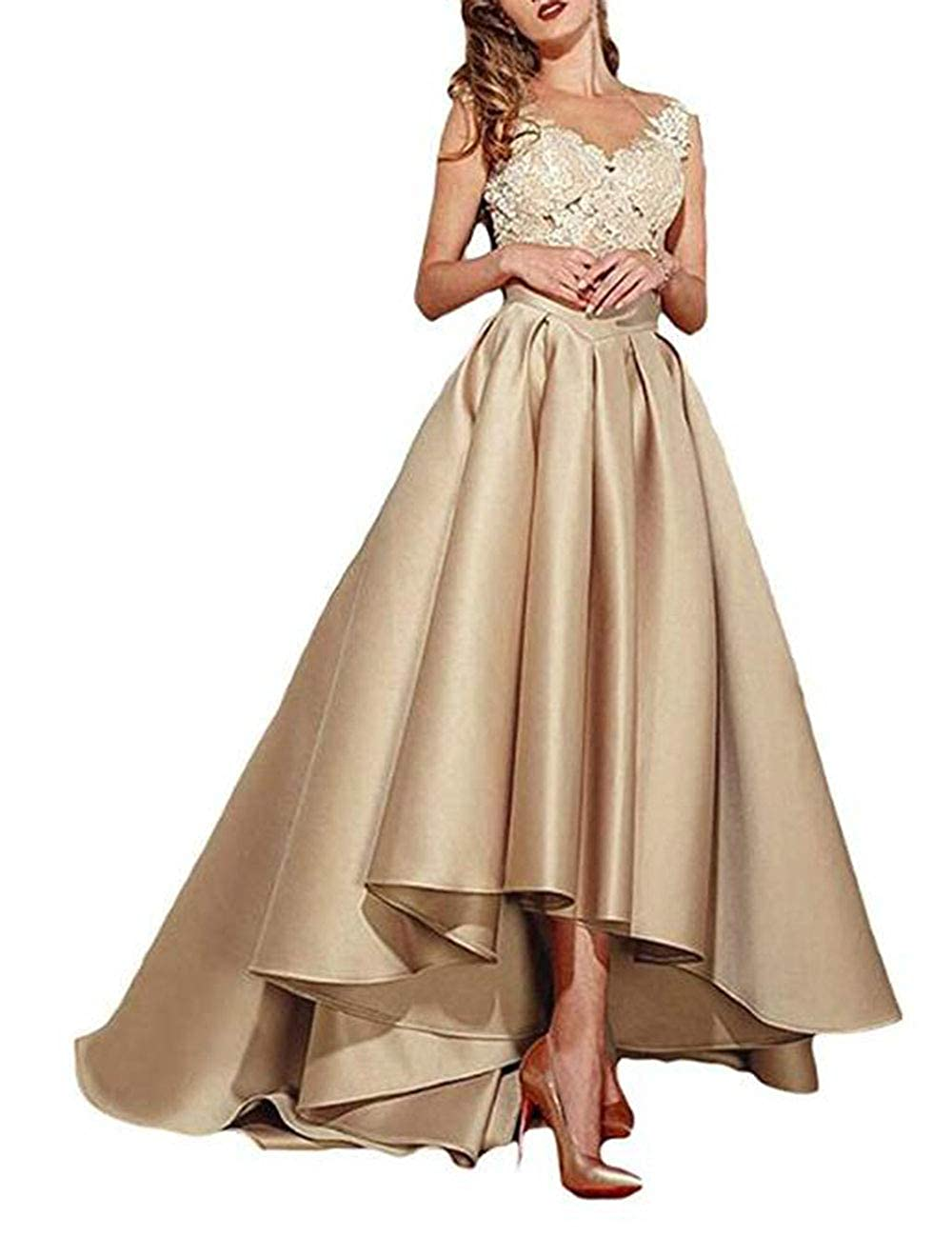 Champagne alilith.Z Sexy Lace Appliques Prom Dresses High Low Formal Evening Dresses Party Gowns for Women