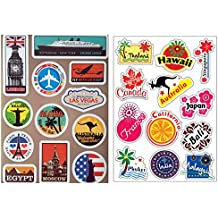 VOOSEYHOME 2X World Famous Tourism Country & Regions Logo Waterproof Stickers - Idea for Luggage Skateboard Laptop Luggage Suitcase Book Covers etc