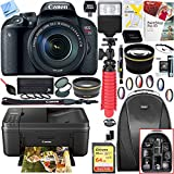 Canon EOS Rebel T7i Digital SLR Camera with EF-S 18-55mm IS STM Lens and Pixma MG3620 Wireless Inkjet All-In-One Multifunction Photo Printer 64GB Accessory Bundle