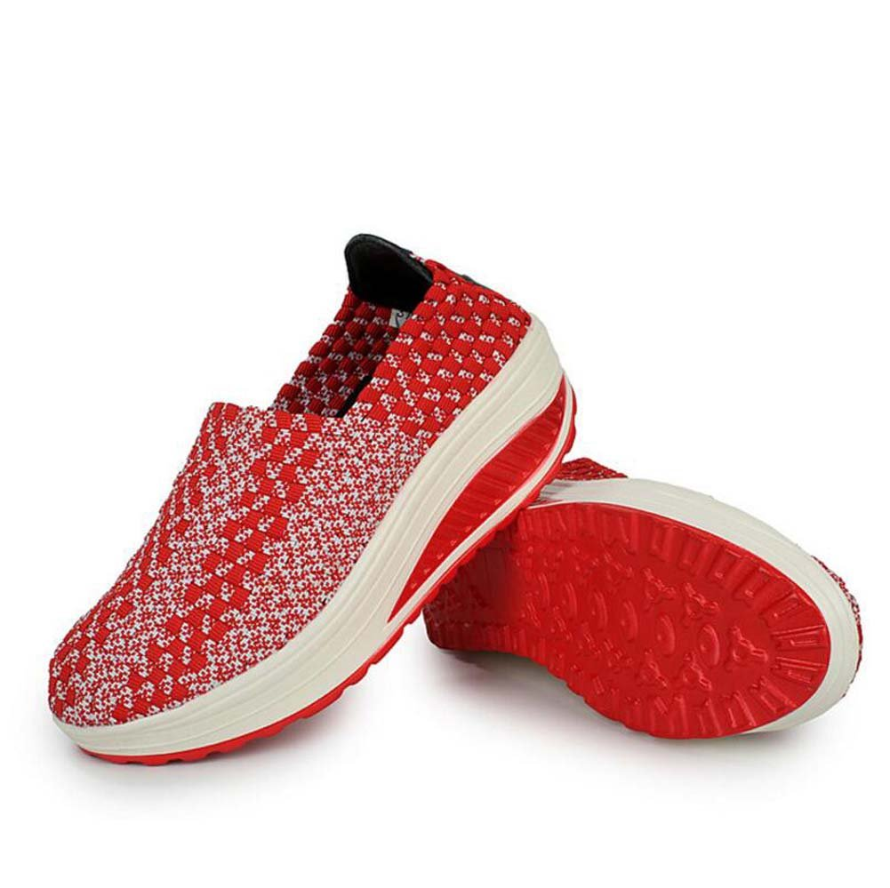 Zapatillas Casual para Mujeres Zapatos Deportivos de Primavera y Verano Zapatos Deportivos de Suela Gruesa Zapatillas Deportivas Running Talla 35-40 38 EU|Rojo