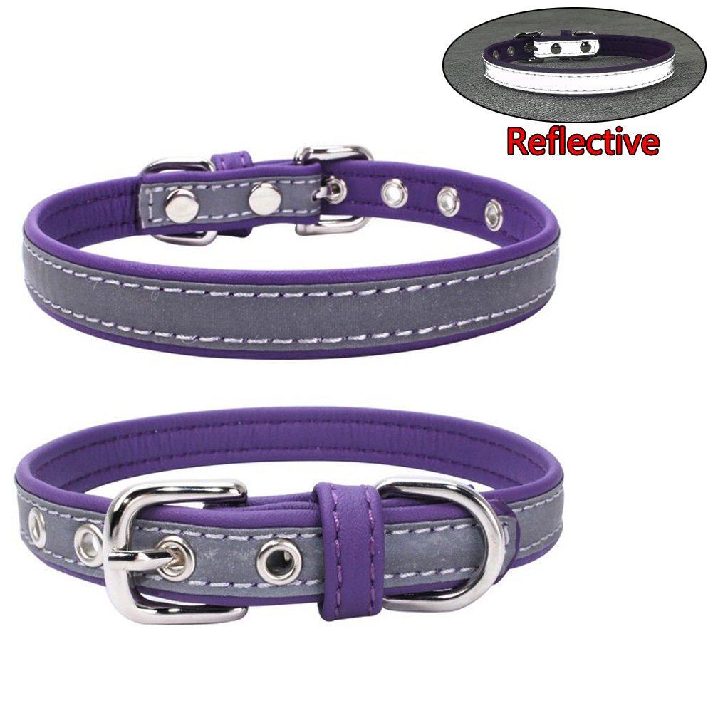 Purple XS Purple XS Newtensina Fashion Dog Collar Reflective Puppy Collars for Small Dogs Medium Dogs Purple XS