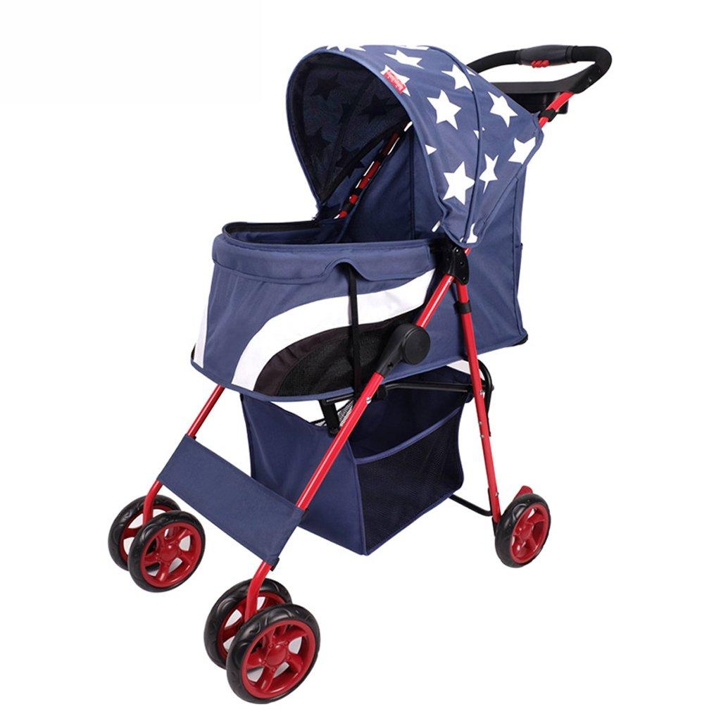 bluee PLDDY Dog Stroller, Pet Stroller, Cat, Dog, Stroller, Folding, Small Four Wheel, Trolley (color   bluee)