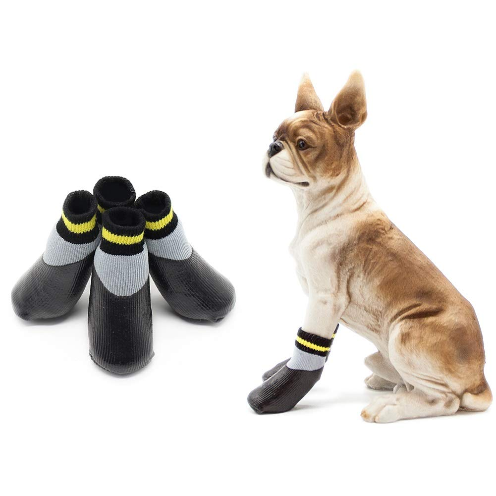 3  Dora Bridal 4 Pcs Anti-Slip Dog Socks, Waterproof Paw Predectors Nonslip Sports Socks shoes, Traction Control for Indoor & Outdoor Wear for Small Medium Large Pet Dogs Black