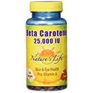 Natures Life Beta Carotene 25,000 IU | Helps Support Healthy Immune Function & Skin & Eye