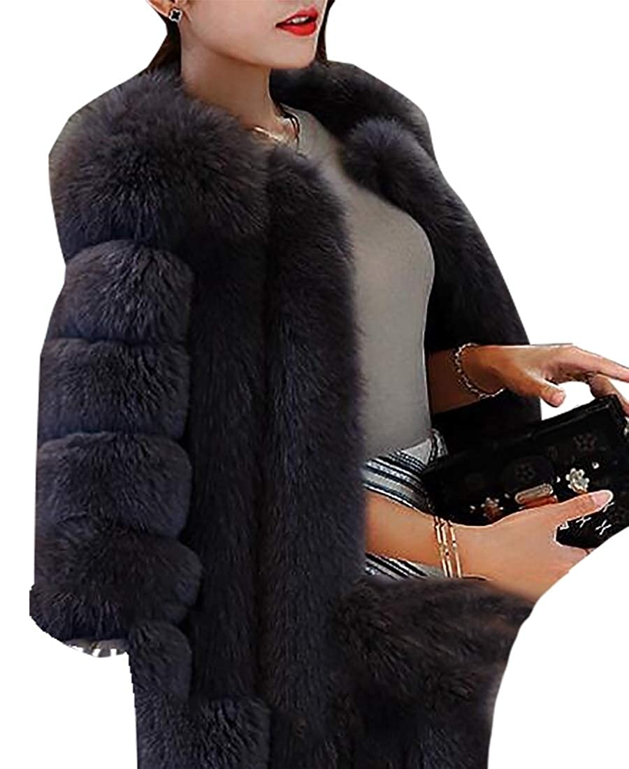 Dark Grey LEISHOP Women Winter Long Sleeve Open Coat Faux Fur Front Short Cardigan Jacket