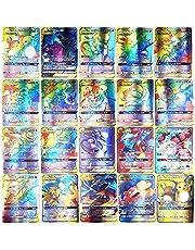 Pokemon kortset, AUMIDY 100 st Odjuret Extremt sällsynta kort, Barn GX samlarkort med 95 GX Pokémon-kort och 5 Mega Pokémon-kort, tecknat spelkort